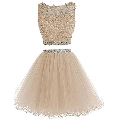 b10570ef06c Dydsz Women's Prom Dress Short Homecoming Party Dresses 2 Piece Beaded  Cocktail Gown D127