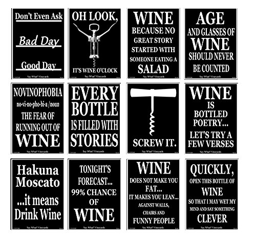 American Art Classics Set of 12 Black and White Funny Wine Bottle Labels - 5 Inch X 4 Inch