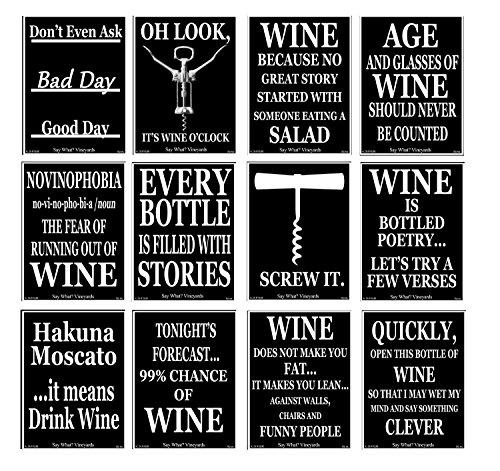 American Art Classics Weinflaschen-Etiketten, 12,7 x 10,2 cm, Schwarz / Weiß, 12 Stück