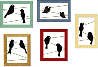 Art Street Set of 5 Wooden Birds Wall Arts Cutouts Hanging Photo Frame for Home Décor (Size -24x35 Inches)