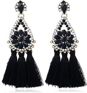 Bohemian Tassel Earrings Diamonds Flowers Water Droplets Fringed Tassel Earrings for Women