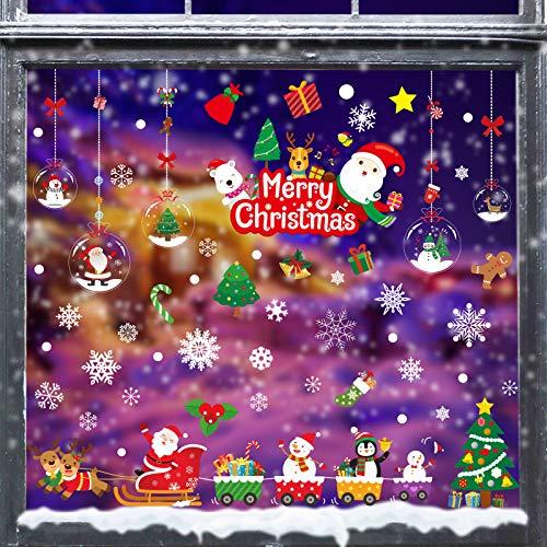 GP Life 175 PCS Christmas Window Clings Xmas Window Decals Stickers for Christmas Window Decorations