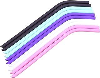 Pajitas de silicona reutilizables de boca ancha de 10 pulgadas, compatible con vasos de 30 onzas y 20 onzas, con cepillo de limpieza 10inch 5color
