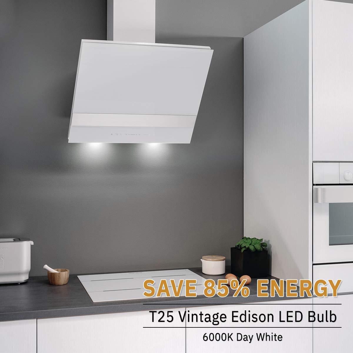 E14 T25 LED 2W=15W Campana extractora, 150LM, bombilla de incandescencia Edison DORESshop, blanco día 6000K, no regulable, lámpara de aplicación para campana extractora, decoración, paquete de 2: Amazon.es: Iluminación