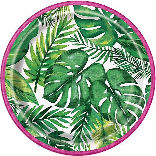 Unique Party - Platos de Papel - 18 cm - Diseño Tropical...