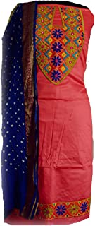 KATHIWALAS Women's Cotton Silk Kutch Work Bandhani/Bandhej Unstitched Dress Material Suit (CARROT PINK BLUE, Free Size)
