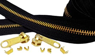 YKK 10 Yards Brass Chain Zipper Replacement Black - YKK #5 with 10 Fancy Long Pull Sliders 30 Top Stops 30 Bottom Stops to Create Your Own Stunning Zippers - 100% Made in USA (10 Yards)
