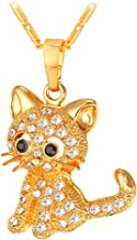 U7 Cute Cat Necklace Rhinestone with Chain Platinum/18K Gold Plated Girls Charm Smooth Collarbone Necklace