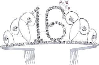 Frcolor Crystal Rhinestone Birthday Crown Sweet 16 Birthday Tiara (Silver)