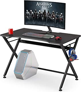 Bureau d'ordinateur de gaming avec porte-gobelet et crochet pour écouteurs, table ergonomique en forme de X pour le bureau...