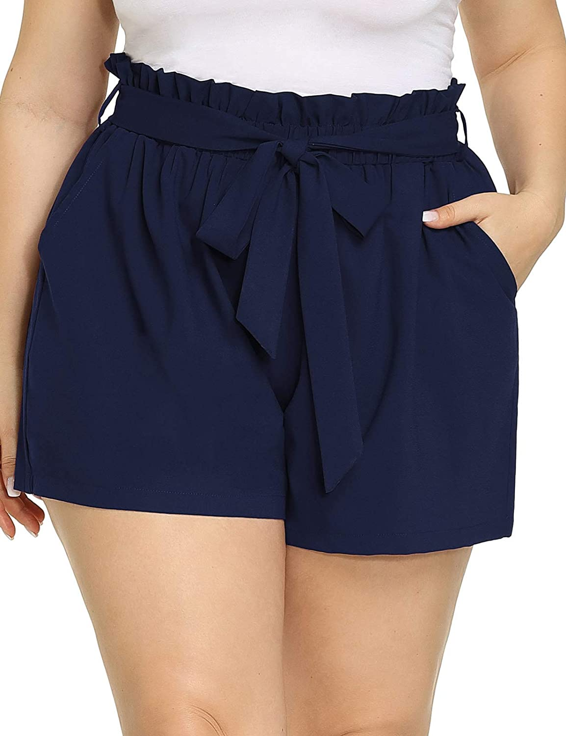 Hanna Nikole Paper Bag Shorts for Women Plus Size High Waisted Elastic Waist Shorts with Pockets
