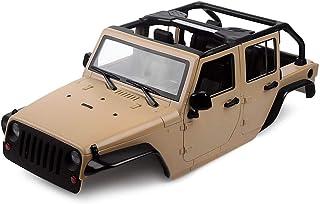 INJORA Unassembled Kit 313mm Wheelbase Convertible Open Car Jeep Wrangler Body Shell for 1/10 RC Crawler Axial SCX10 90046 (Khaki)