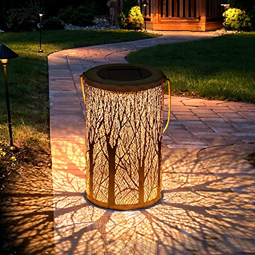 Solar Lantern Lights, Tencoz Outdoor Lights Solar for Decorative Atmosphere Hanging Garden Lantern for Courtyard, Parties, Walkway Waterproof LED Garden Lamp-12.5 * 12.5 * 20cm