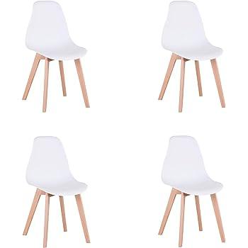 sedie da Pranzo Moderne in Stile Nordico GrandCA Set di 4 sedie sedie da Ufficio con Gambe in Metallo Bianca