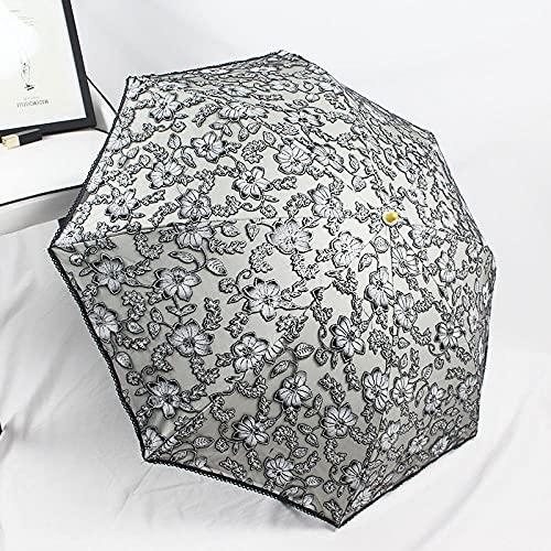 Roshow Kreative heiße Silberne Twilight Regenschirm Doppelsonnensonnencreme Sonnenschirm schwarzer Kunststoff-Faltschrank-Zwei-Nutzung Anti-UV-Sun-Regenschirm-grau_Regenschirm 90 cm.