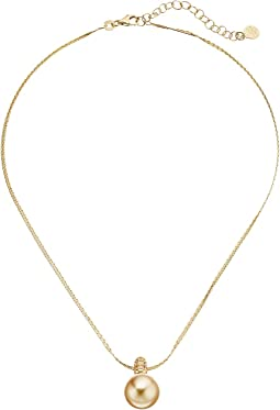 Majorica - 12mm Round CZ Gold Plated Necklace 16-18