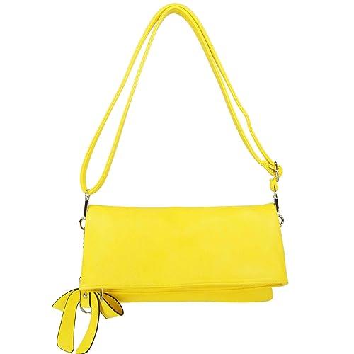 2b879bae318fe CASAdiNOVA Damen Umhängetasche Gelb Handtasche Klein Clutch Set Leder Vegan  Modern Bag Sommer(29
