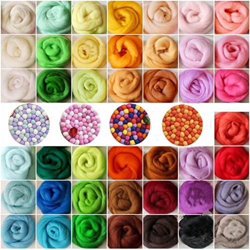KING DO WAY Filzwolle 36 Farbe Märchenwolle Trockenfilzen Schafwolle Filzen Werkzeug Basteln geeignet für Nassfilzen und Trockenfilzen (36 Farben Filzwolle)