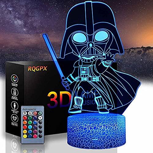 Darth Vader Lámpara de efecto 3D con ilusión óptica de luz nocturna de 16 colores que cambian decoración, carga USB táctil escritorio iluminación con control remoto, regalos juguetes para niños