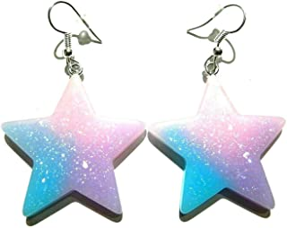 Cotton Candy-colored Glitter Star Earrings on Silvertone Ear Wires pastel goth kawaii pop