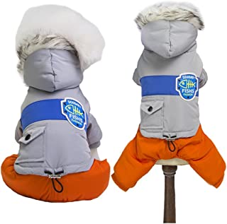 MUYAOPET Snowsuit for Dog Winter Dog Cotton-Padded Jacket Coat Waterproof Warm Dog Pet Cat Hooded Jumpsuit Clothes for Small Dog
