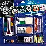 CREOFANT Juego de maquillaje terrorífico para Halloween, 11 piezas, set de maquillaje, color facial, lápices de maquillaje y esponja