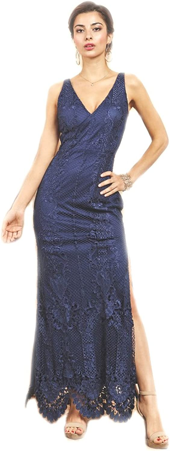 Crazy4Bling Soieblue Navy bluee Lace Yoke & Mesh Sleveless Embroidery Bodycon Dress, Medium