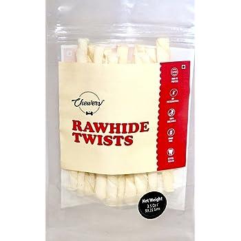 Chewers Rawhide Twists Dog Treat, White Chew Sticks, 100g