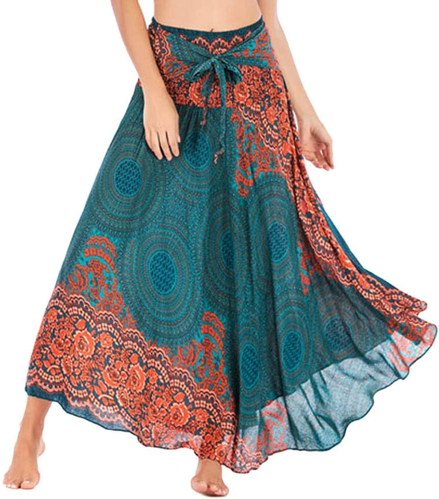 Summer Women Bohemian Style Gypsy Boho Hippie Skirt Casual Elastic Waist Long Maxi Skirt Tie Up Beach Skirt Green