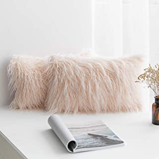 MIULEE Pack of 2 Decorative New Luxury Series Style Pink Faux Fur Throw Pillow Case Cushion Cover for Sofa Bedroom Car 12 x 20 Inch 30 x 50 cm