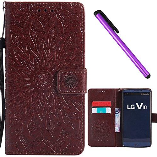 LG V10 Case Cover EMAXELER Stylish Wallet 3D Embossed Kickstand Flip Sun Flower Three Dimensional Cards Slot Cash Pockets PU Leather for LG V10 Sun Brown