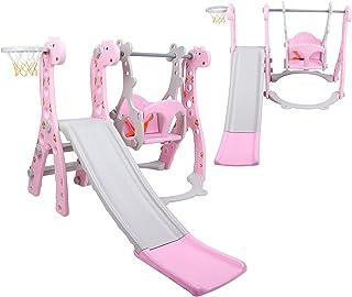 Ejoyous Småbarn-klätter- och gunguppsättning, småbarnsrutschkana och gungor-set högkvalitativ polyeten barn-klätterrutsch...