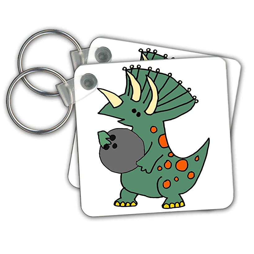 3dRose All Smiles Art - Animals - Cool Funny Green Triceratops Dinosaur Bowling Cartoon - Key Chains