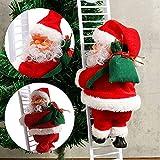 WELLXUNK Papá Noel en la Escalera,Escalera de Escalada eléctrica para Papá Noel,Campanas Musicales eléctricas Escalera de Escalada Juguete de Papá Noel árbol de Navidad Ornamento Colgante