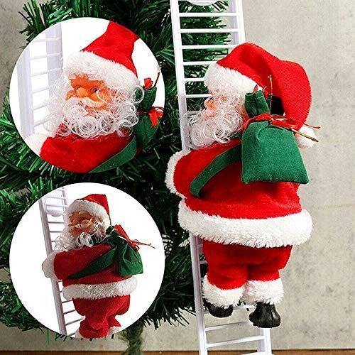 WELLXUNK Scala di Arrampicata Babbo,Arrampicata Babbo Natale,Babbo Natale Elettrico Scala,Electric Christmas Santa Claus Climbing Ladder with Music Plush Doll for Decorazione per Albero di Natale