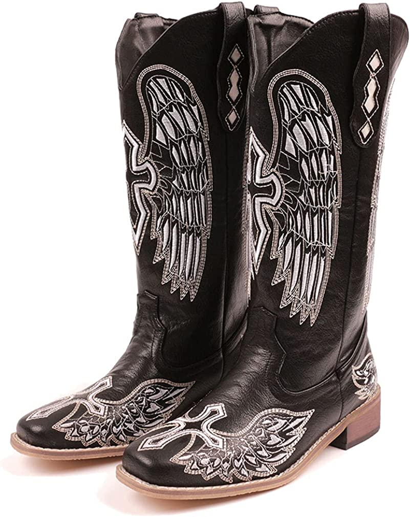 Dreamcia Women Embroidery Cowgirl Cowboy Boots Square Toe Mid Calf Western Boots