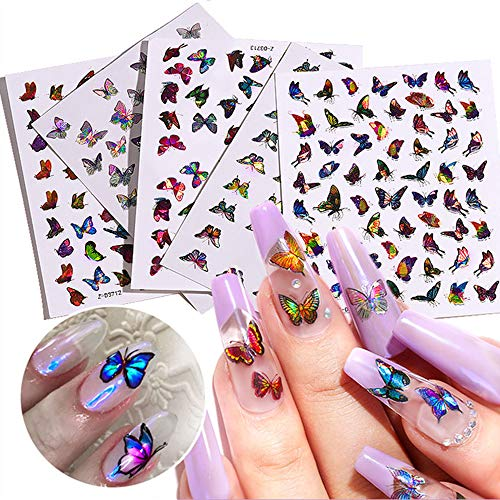 Laser Butterfly Nail Art Stickers Decals Nail Art Supplies 3D Butterfly Nail Designs Charms Butterflies Self-Adhesive Stickers Cute Foil Tattoo Holographic Manicure Decorations Accessories 5 Sheets