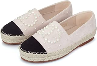 Langou Womens Slip On Loafers Casual Flat Espadrilles Platform Pearl Suede Driving Holiday Shoes Woven Alpargata