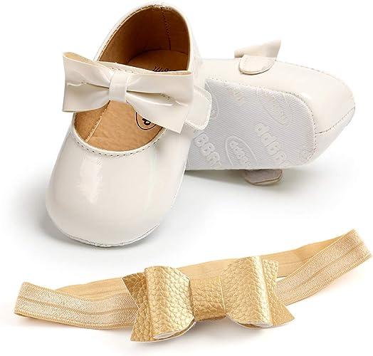 Chaussures Princesse Bowknot Paillettes Chaussures Premiers Pas de Semelle Souple A/_Blanc, 12/_Months TMEOG Chaussures B/éb/é Fille avec Bandeau