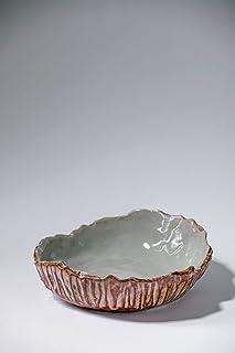 Cuenco de placa de cerámica rústica vintage hecha a mano Decoración para el hogar esmalte marrón gris texturizado