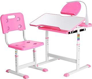 Height Adjustable Kids Desk, Functional Children Desk Study Table, Kids Desk and Chair Set, Children's School Desk with Ti...