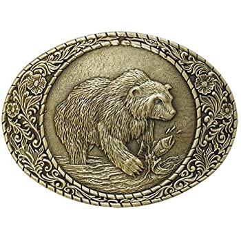 Indiana Metal Craft Grizzly Bear Belt Solid Brass Buckle Made in USA