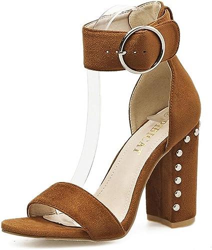 HN zapatos mujer Fornido Tacón Sandalias zapatos Ante Tobillo Correa Remache Mirar furtivamente Dedo del pie negro marrón Trabajo Fiesta Vestir Club Nocturno