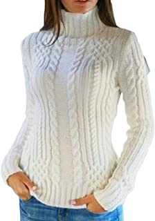 fanmeili-AU Womens Cable Slim Fit Knitwear Turtleneck Pullover Sweater