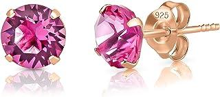 DTPsilver - Orecchini a Perno - Argento 925 Placcato in Oro Rosa con Cristalli Swarovski® Elements Rotondi - Diametro 6 mm...