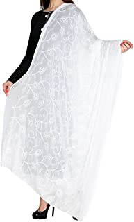 FEMEZONE Women's Handwork Embroidered Lucknowi Chiffon Dupatta (White, Free Size)