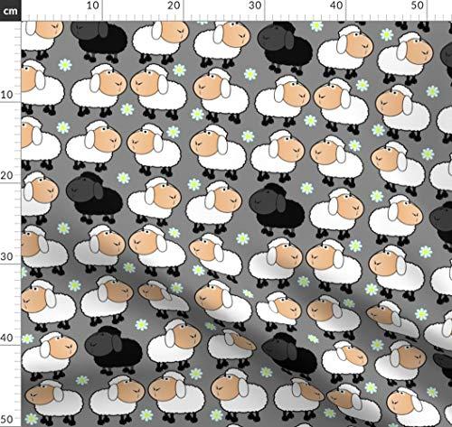Schaf, Schwarz, Weiß Stoffe - Individuell Bedruckt von Spoonflower - Design von Floramoon Gedruckt auf Baumwollstoff Klassik