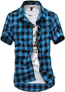 Mens Casual Plaid Dress Shirt Short Sleeve Check Button-Down Shirts