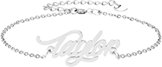 HUAN XUN Personalized Name Bracelet Stainless Steel Jewelry Gifts for Womens Girls