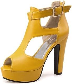 c3f12b9734086 COOLCEPT Femme Mode Sangle De Cheville Sandales Peep Toe Chaussures Bloc  avec Fermeture Eclair